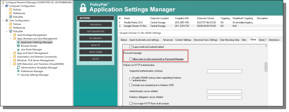 Application Settings Manager Password Manager