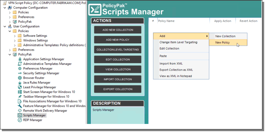 PolicyPak scripts manager