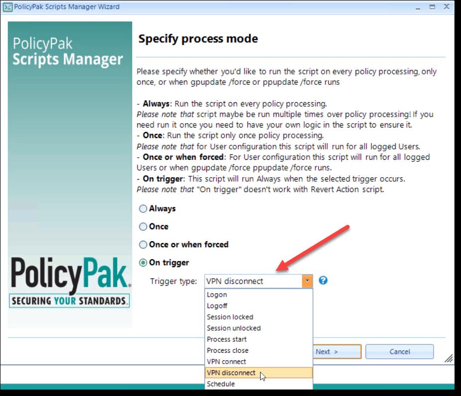 specify process mode
